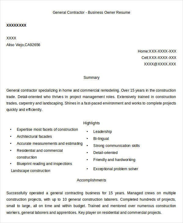 General Contractor Business Owner Resume Example