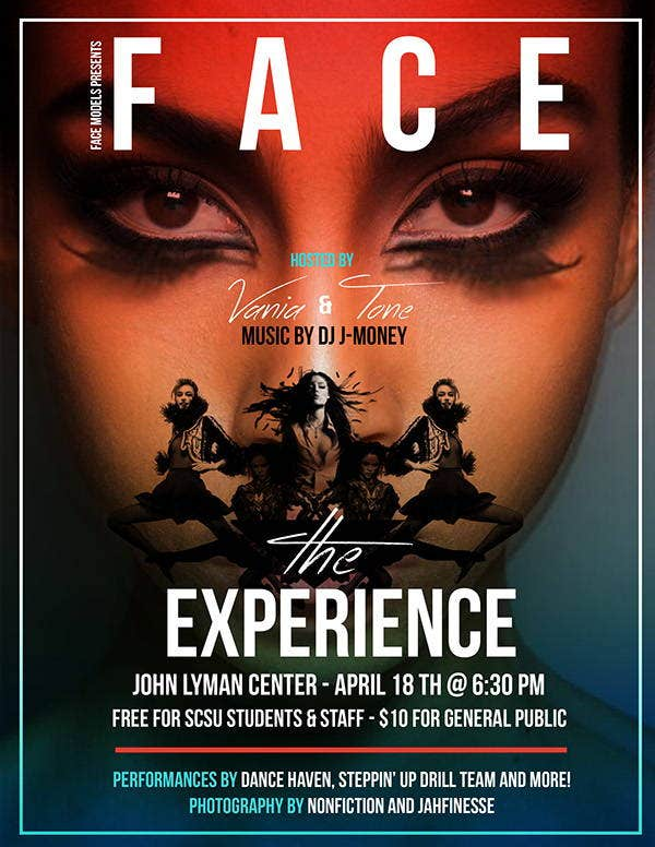 face fashion show flyer