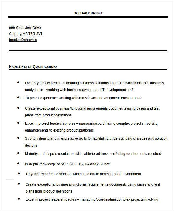Professional Business Analyst Resume