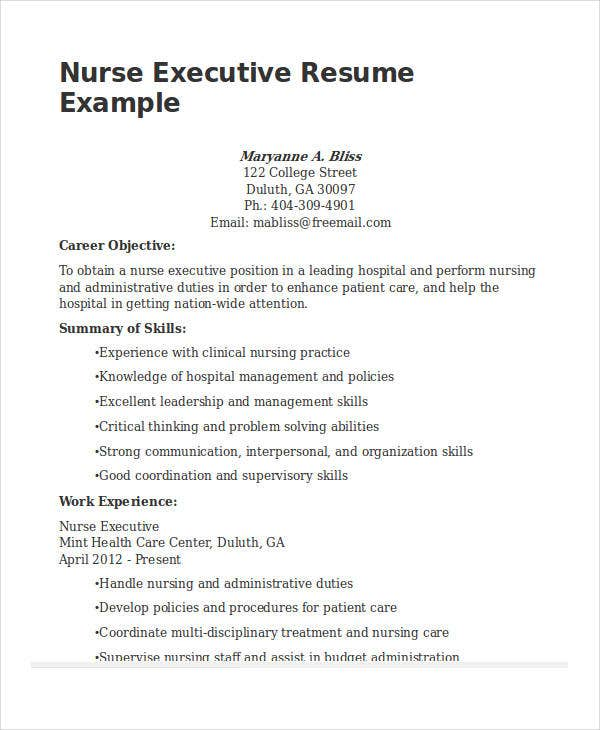 nurse executive resume sample