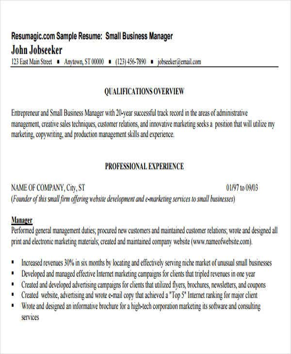 small business management resume
