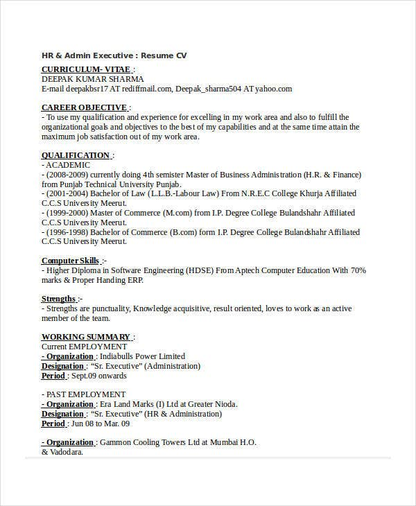 20 printable executive resume templates pdf doc free for Sample resume for hr and admin executive