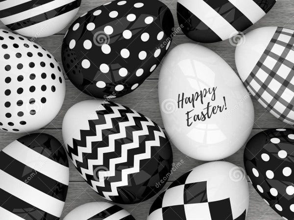 Black and White Easter Egg Template