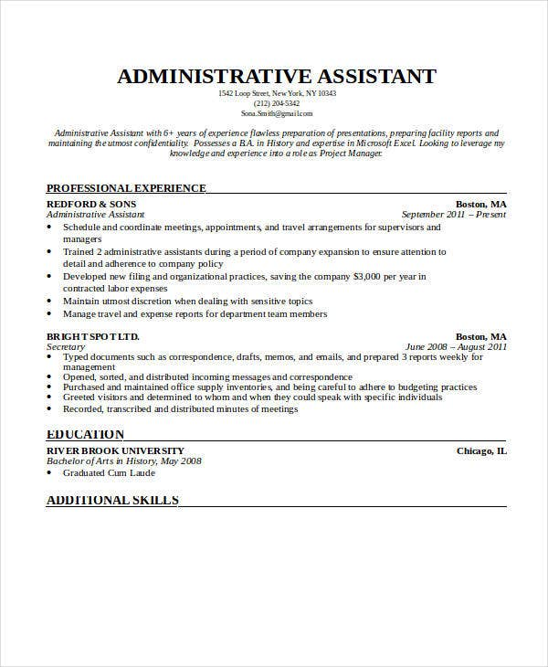 administrative executive assistant resume1