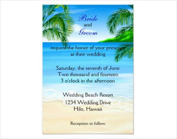 wedding beach invitation flyer