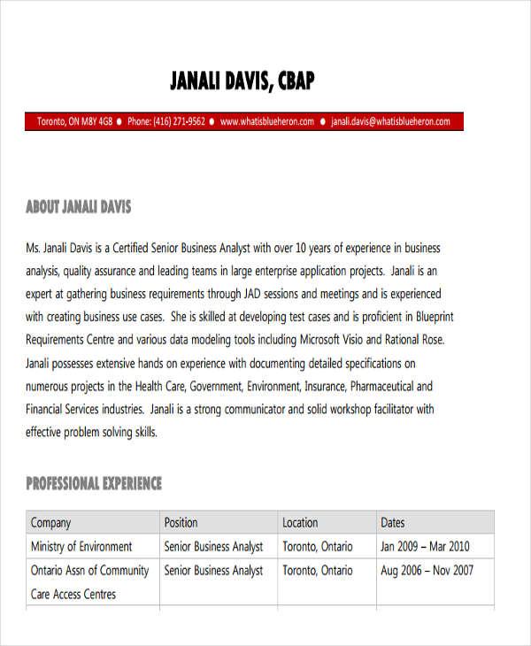 senior business resume sample
