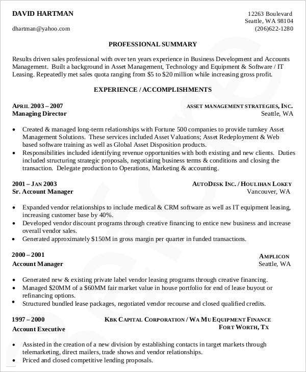 Professional Business Development Resume