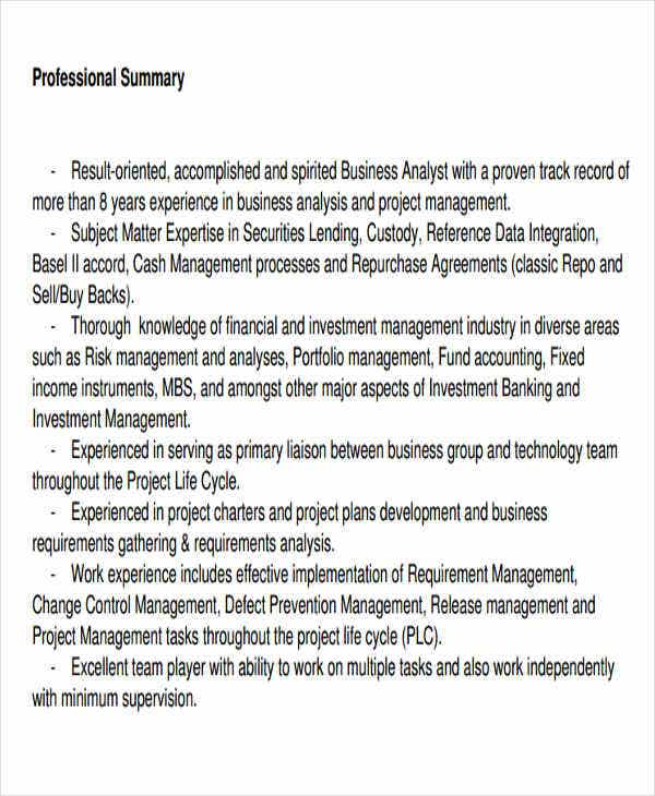 business analyst marketing resume
