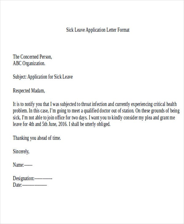 41 Application Letter Templates – Leave Application Format for Office