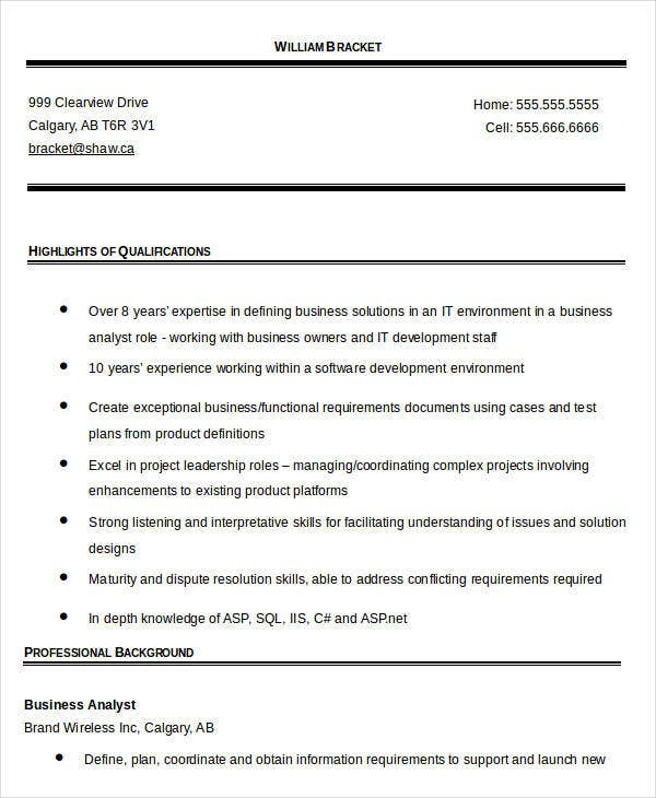 IT Business Analyst Resume Template
