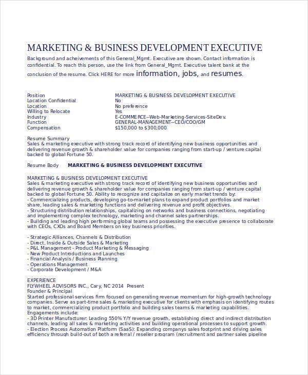 Marketing And Business Development Executive Resume  Business Development Resumes