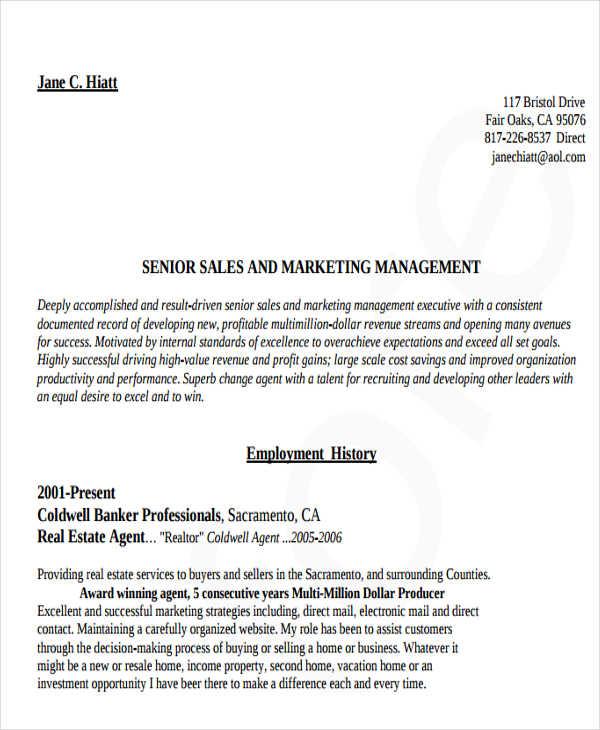 business marketing resume example