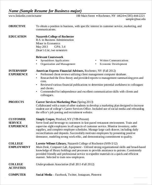 Business Administration Resume in PDF
