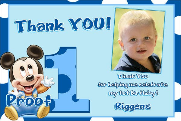 -Mickey Mouse Birthday Thank You Card