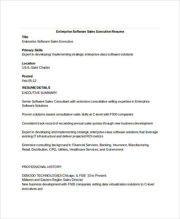 enterprise sales executive resume