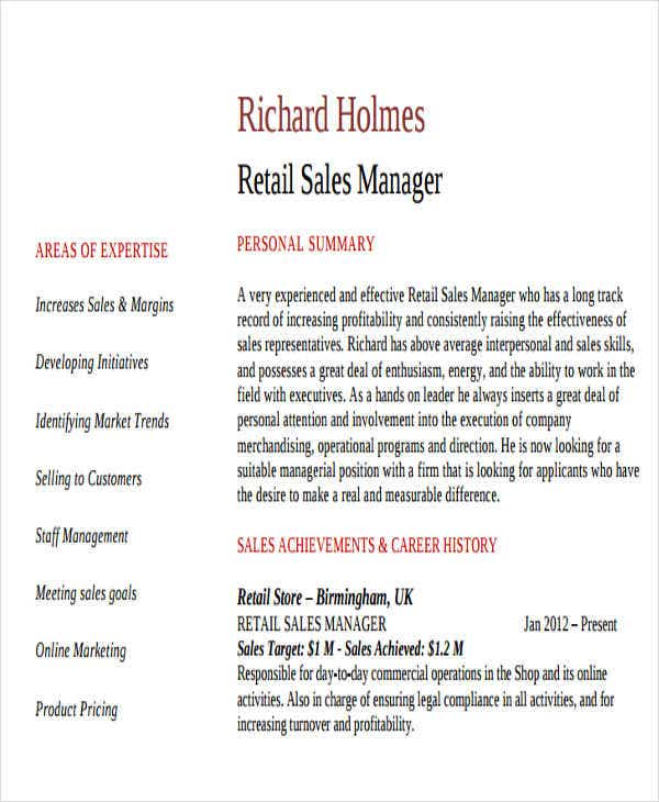 retail sales manager - Activity Director Resume