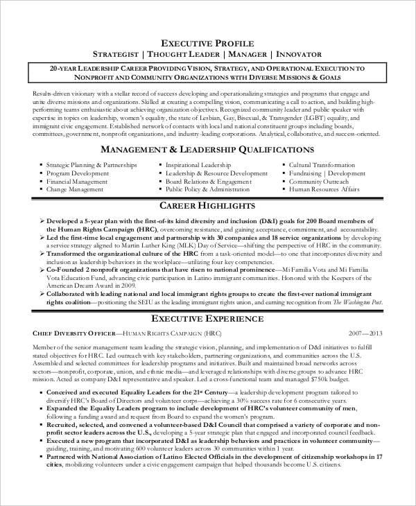 executive job resume sample