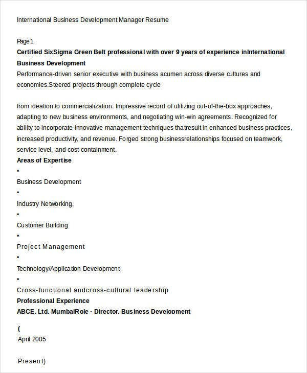 International Business Development Manager Resume
