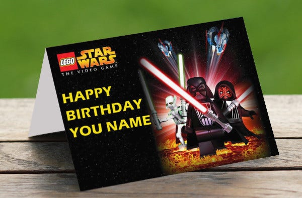 lego star wars birthday card