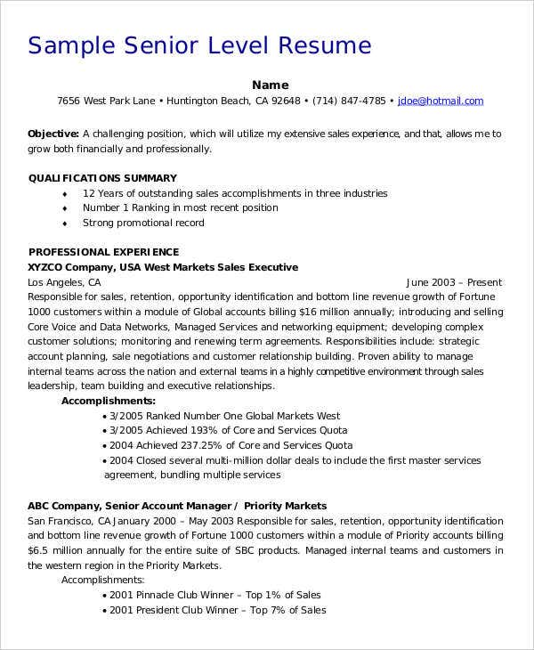 45 executive resume templates pdf doc free premium templates