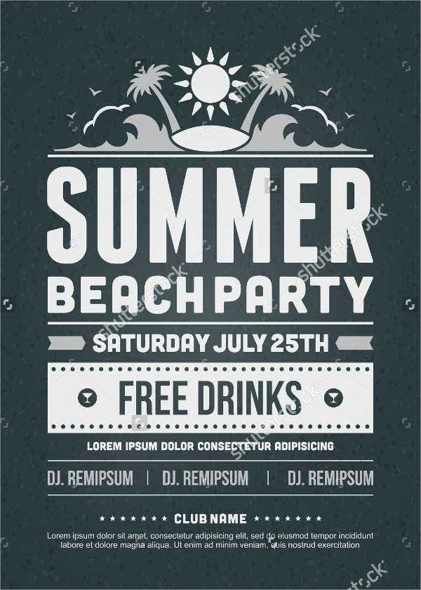 retro summer invitation flyer