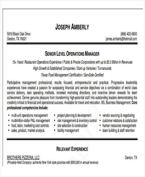 Business Operations Manager Resume  Operations Manager Resume