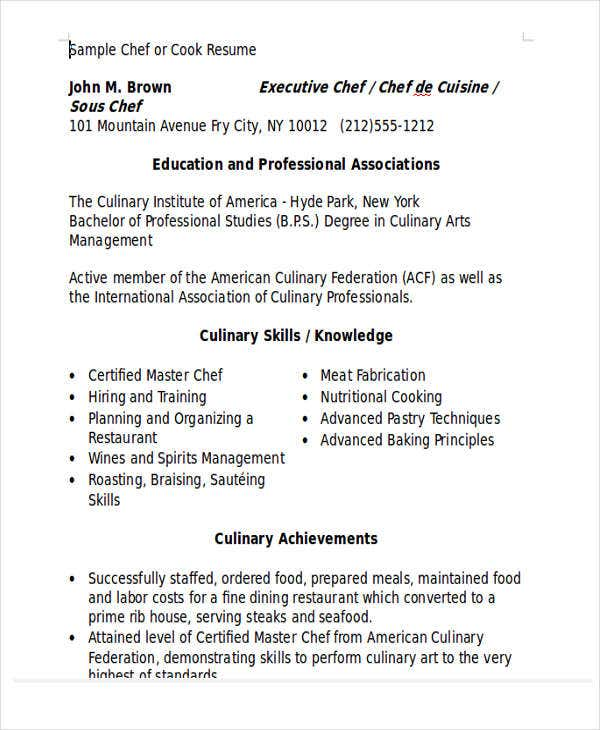 professional chef resume in word