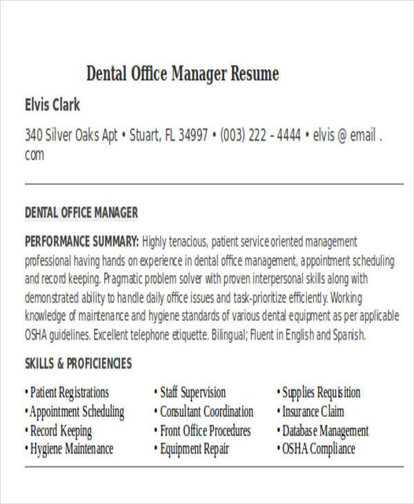 dental office manager resume exles resume format 2017