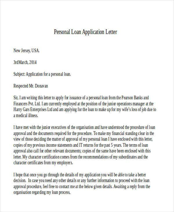 Personal Loan Application Letter. Sampleletterz.com
