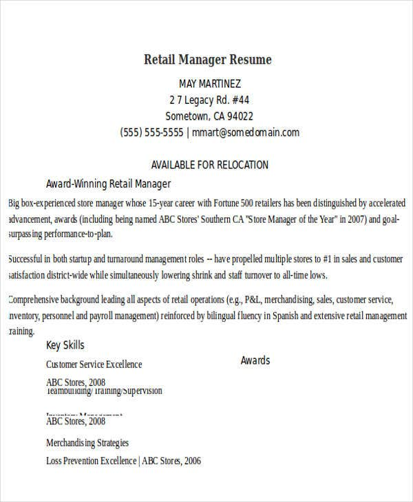 retail manager resume example - Retail Management Resume Examples