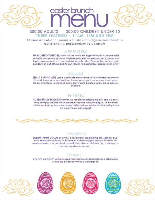 Easter Brunch Menu Template
