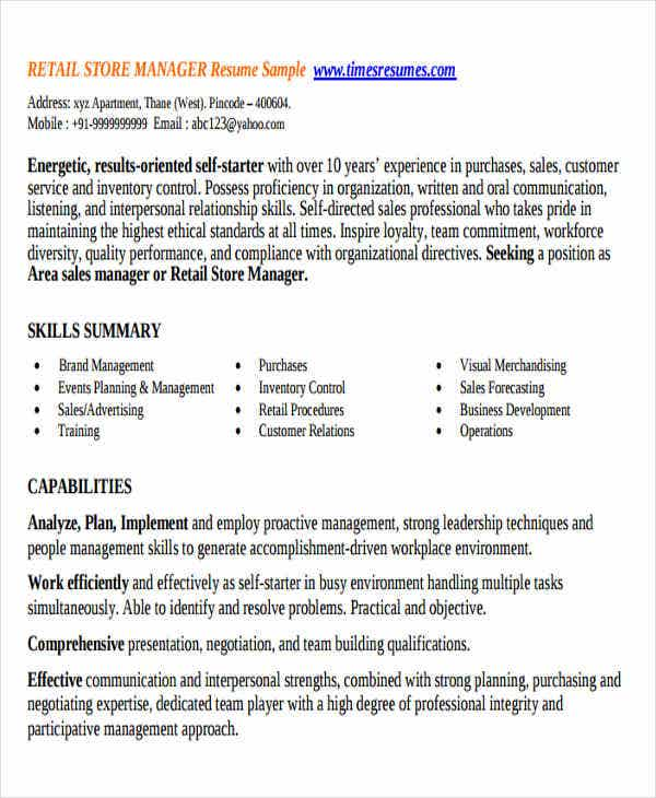 retail store manager resume examples retail store manager 42