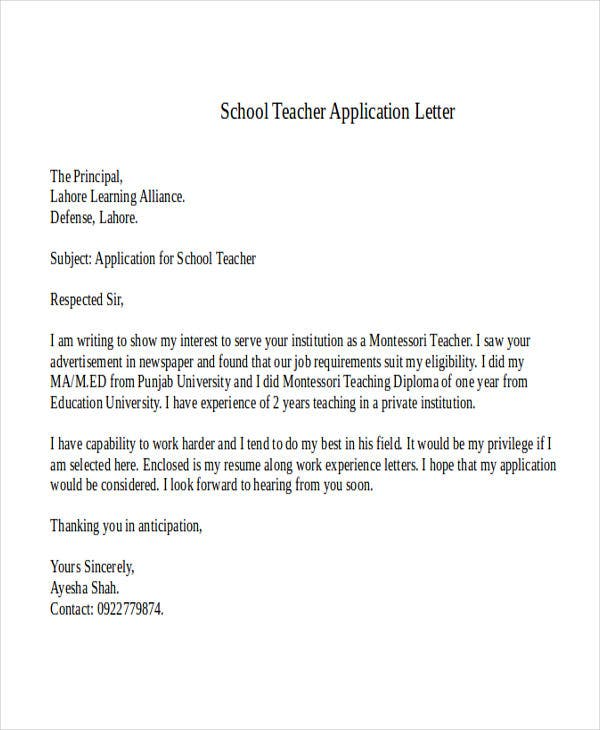 School Teacher Application Letter. Documentshub.com