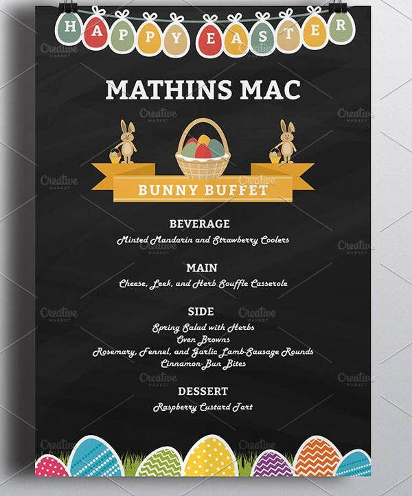Easter Dinner Menu Template