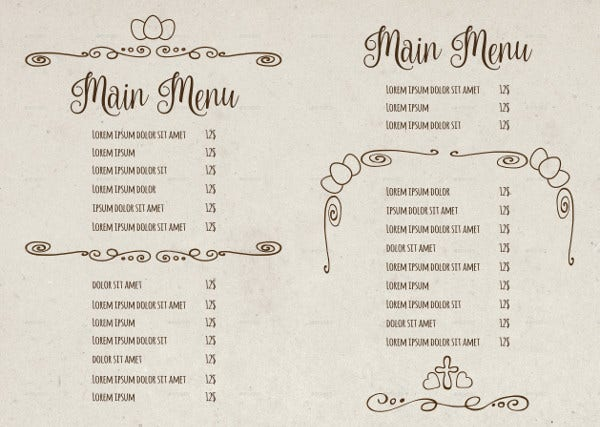 Easter Sunday Menu Template
