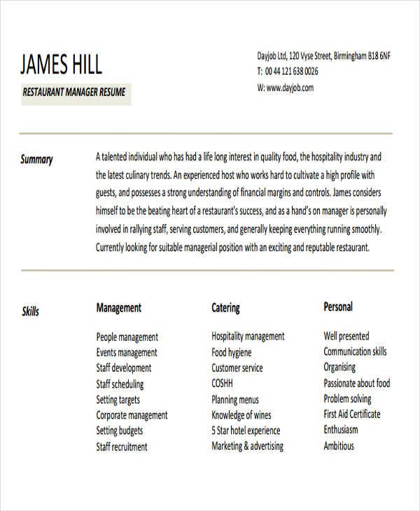 restaurant manager sample