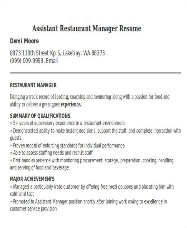 assistant restaurant manager resume