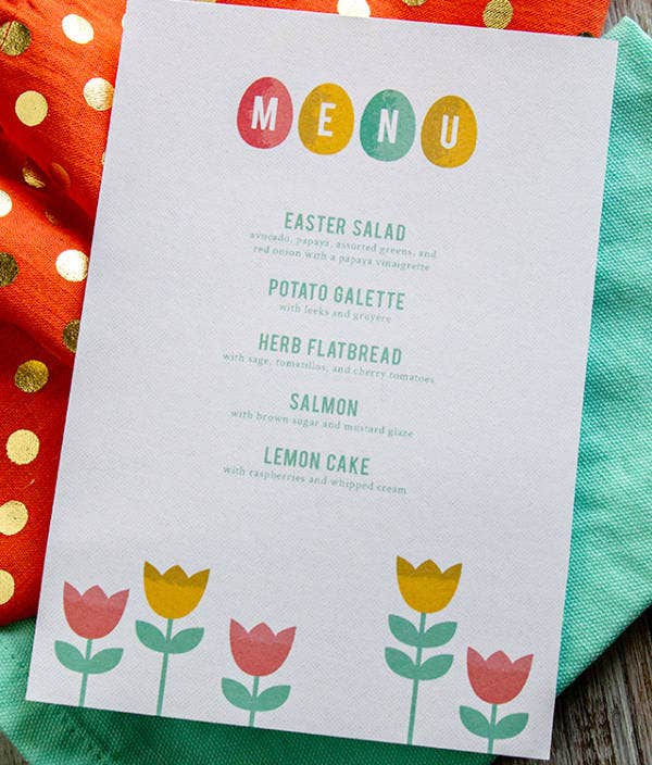 Holiday Easter Menu Template