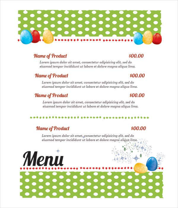 Easter Catering Menu Template