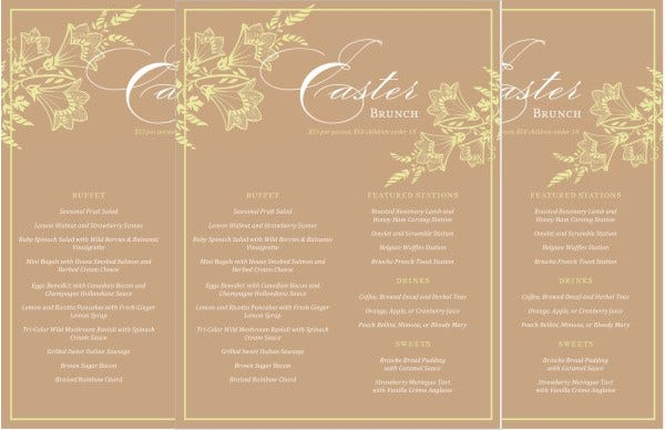 9  easter menu templates