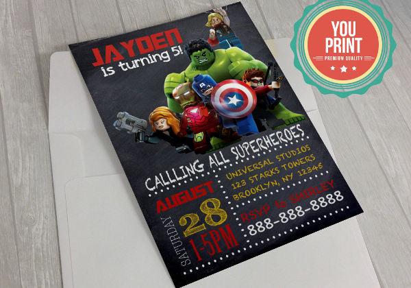 -Superhero Birthday Invitation Card