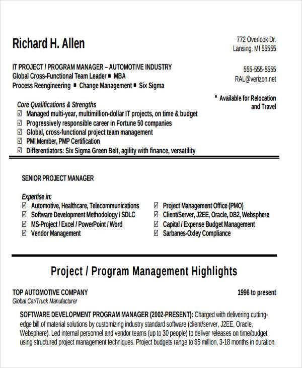 32 manager resume templates pdf doc free premium templates it program manager resume altavistaventures Gallery
