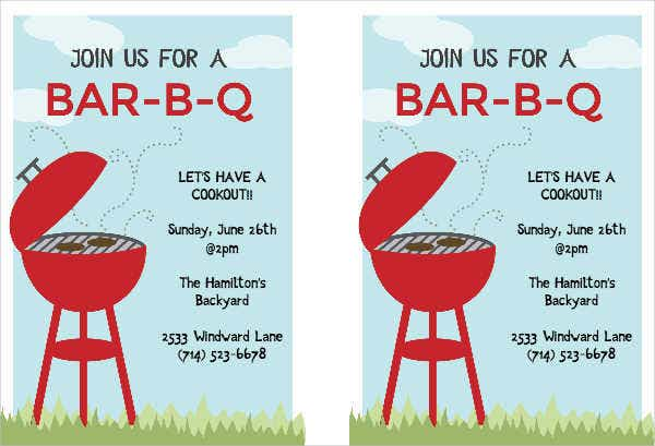 bbq cook out invitation flyer