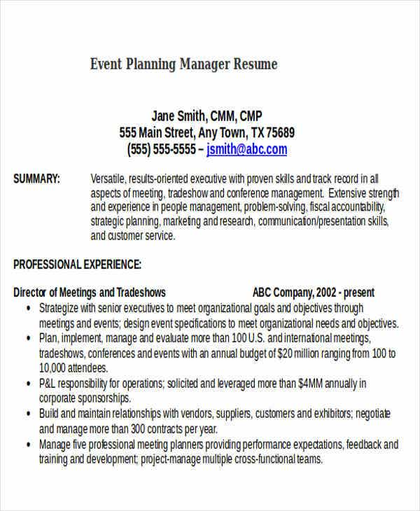 event planning manager resume