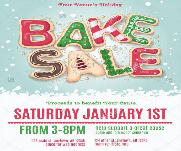 holiday bake sale flyer