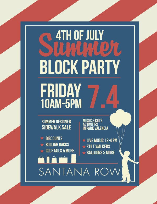 4th of July Block Party Flyer