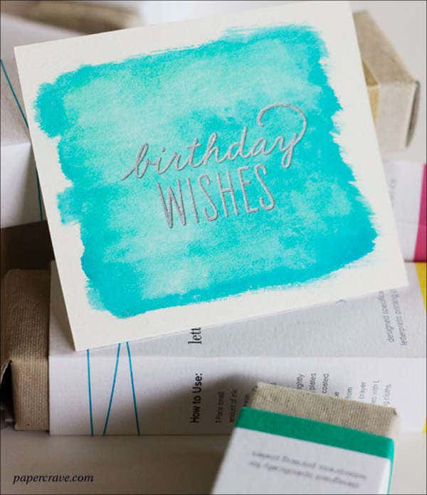 diy watercolor birthday card
