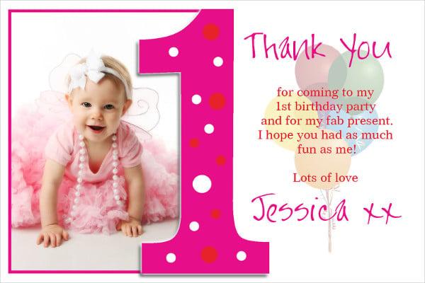 -First Birthday Thankyou Card