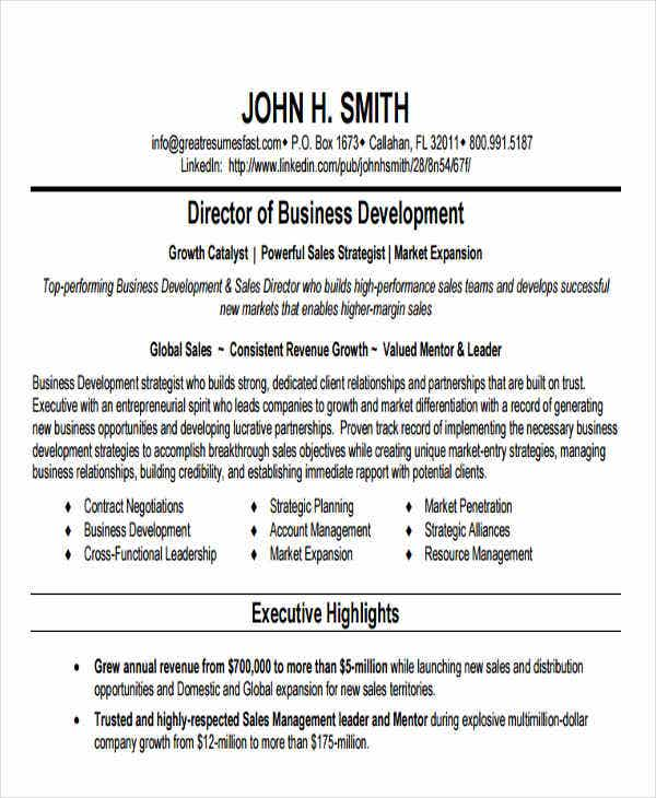 business development director resume