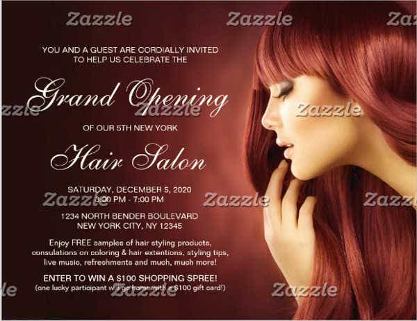 hair salon grand opening invitation flyer